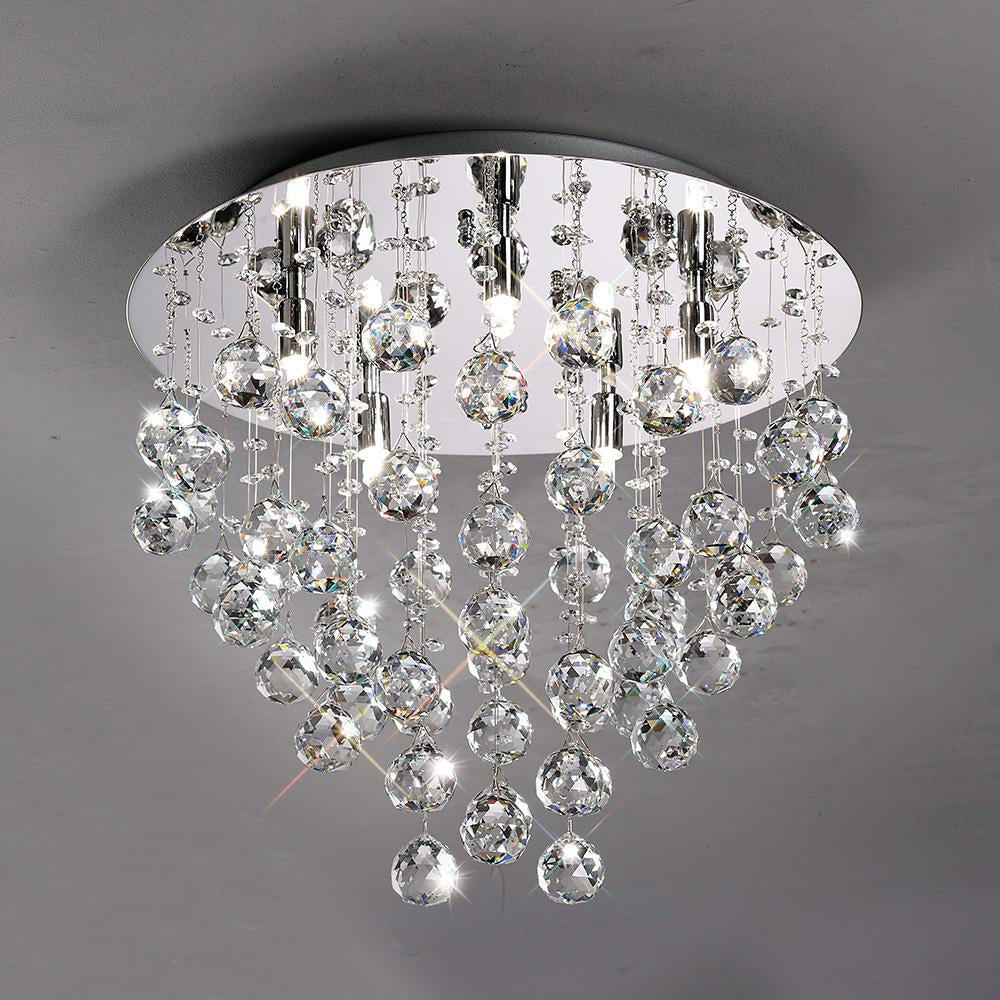 Gray Diyas IL30787 Colorado Ceiling Round 5 Light Polished Chrome/Crystal