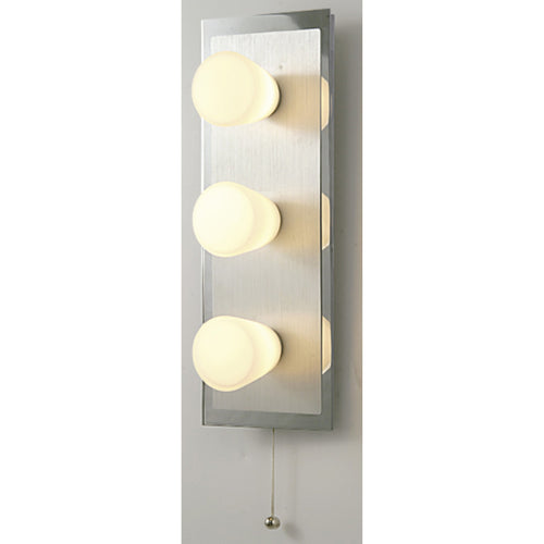Light Goldenrod Yellow Diyas IL20371  IP44 Cone Wall Lamp With Pull-Cord Switch 3 Light Polished Chrome & Aluminium/Opal Glass diyas-il20371-ip44-cone-wall-lamp-with-pull-cord-switch-3-light-polished-chrome-aluminium-opal-glass Cone