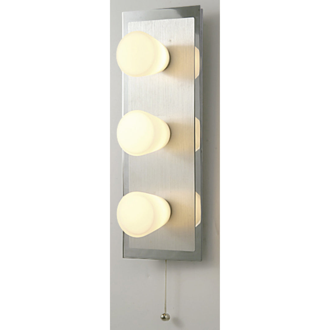 Light Goldenrod Yellow Diyas IL20371  IP44 Cone Wall Lamp With Pull-Cord Switch 3 Light Polished Chrome & Aluminium/Opal Glass