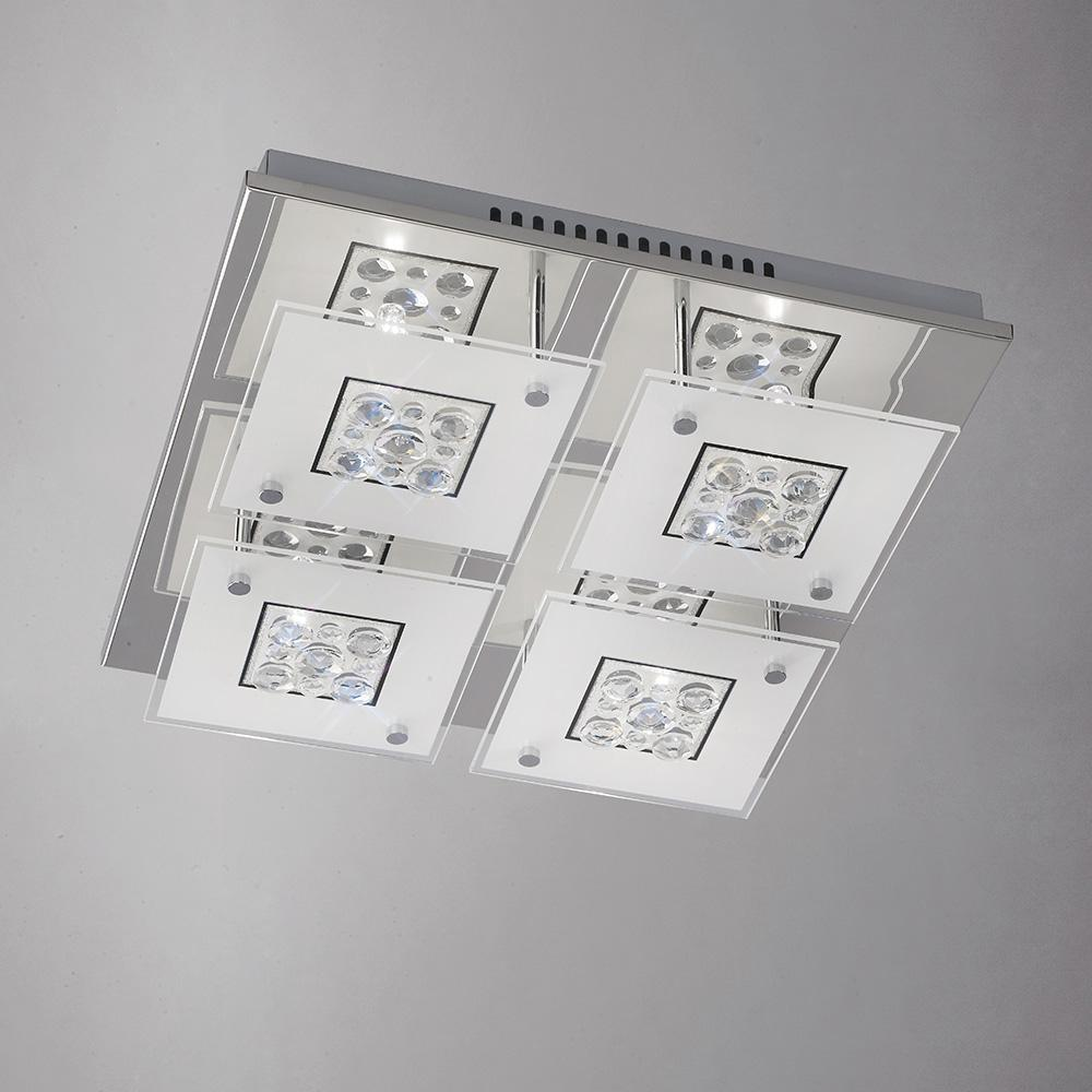 Gray Diyas IL31252 Cosmic Ceiling Square 4 Light Polished Chrome/Glass/Crystal