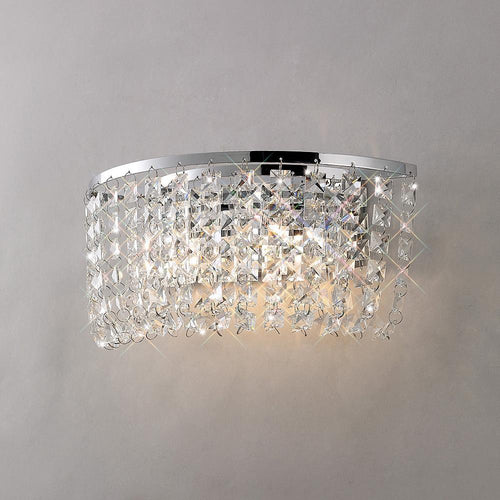 Gray Diyas IL30052 Cosmos Wall Lamp Switched 2 Light Polished Chrome/Crystal