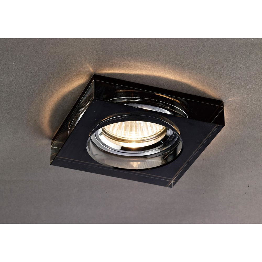 Black Diyas IL30822BL Crystal Downlight Deep Square Rim Only Black, IL30800 Required To Complete The Item
