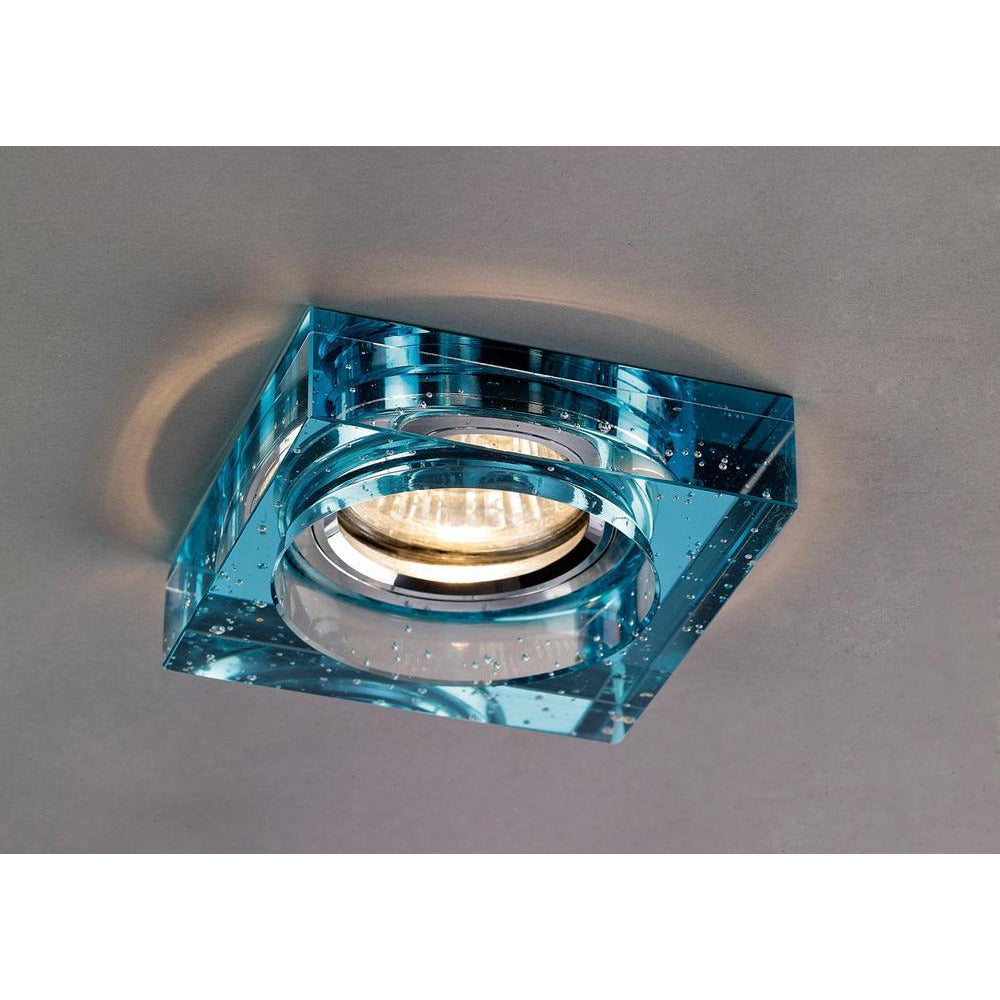 Dark Slate Gray Diyas IL30832AQ Crystal Bubble Downlight Square Rim Only Aqua, IL30800 Required To Complete The Item