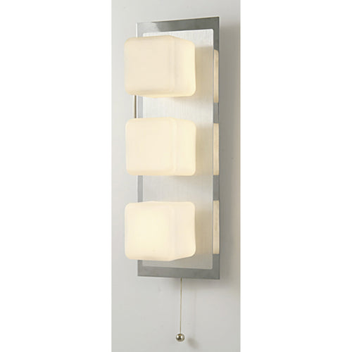 Antique White Diyas IL20381  IP44 Cube Wall Lamp With Pull-Cord Switch 3 Light Polished Chrome & Aluminium/Opal Glass