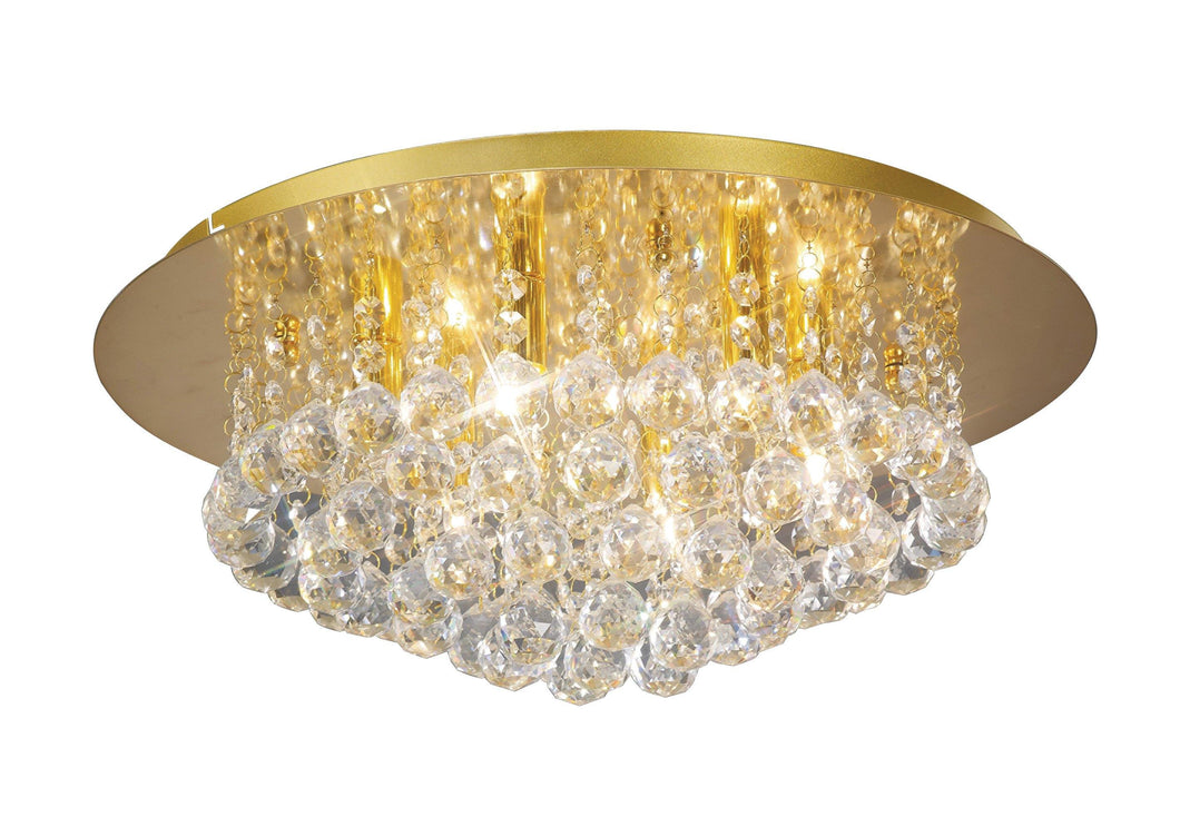 Tan Deco D0005 Dahlia Flush Ceiling, 450mm Round, 6 Light G9 Crystal French Gold