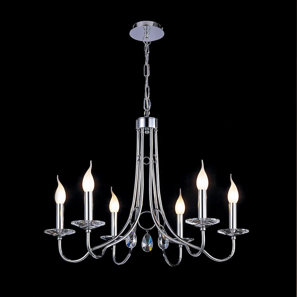 Black Diyas IL40036  Danya Pendant Round 6 Light Polished Chrome/Crystal