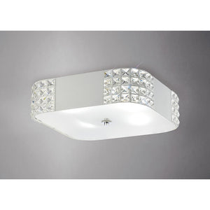 Gray Diyas IL31191 Denver Ceiling 4 Light White/Crystal