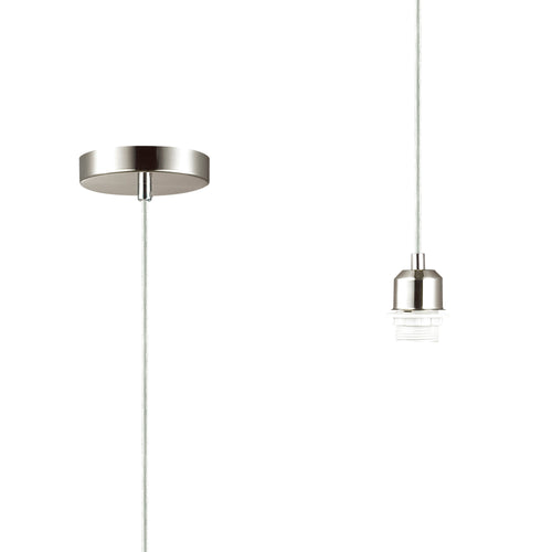 Dark Gray Deco D0179 Dreifa 1.5m Suspension Kit 1 Light Satin Nickel and Clear Cable, E27 Max 60W, c and w Ceiling Bracket deco-d0179-dreifa-1-5m-suspension-kit-1-light-satin-nickel-and-clear-cable-e27-max-60w-c-and-w-ceiling-bracket