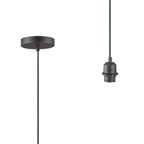 Dark Slate Gray Deco D0193 Dreifa 1.5m Suspension Kit 1 Light Black and Black Cable, E27 Max 60W, c and w Ceiling Bracket deco-d0193-dreifa-1-5m-suspension-kit-1-light-black-and-black-cable-e27-max-60w-c-and-w-ceiling-bracket