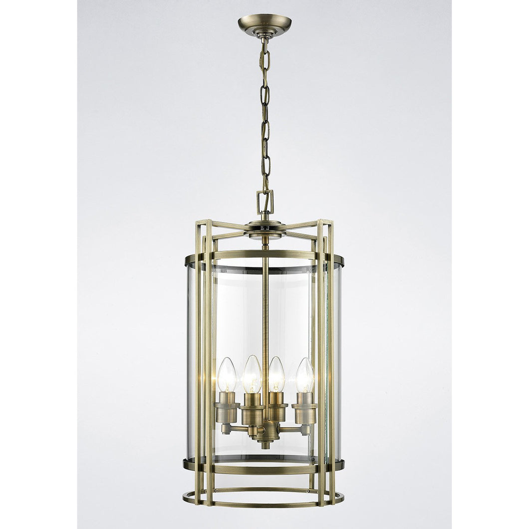 Gray Diyas IL31093 Eaton Pendant 4 Light Antique Brass/Glass