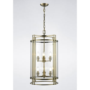 White Smoke Diyas IL31094 Eaton Pendant 6 Light Antique Brass/Glass diyas-il31094-eaton-pendant-6-light-antique-brass-glass Eaton