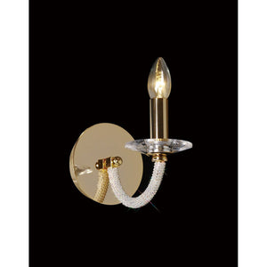 Rosy Brown Diyas IL30371 Elena Wall Lamp Switched 1 Light Gold/Crystal