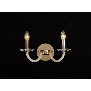 Rosy Brown Diyas IL30372 Elena Wall Lamp Switched 2 Light Gold/Crystal