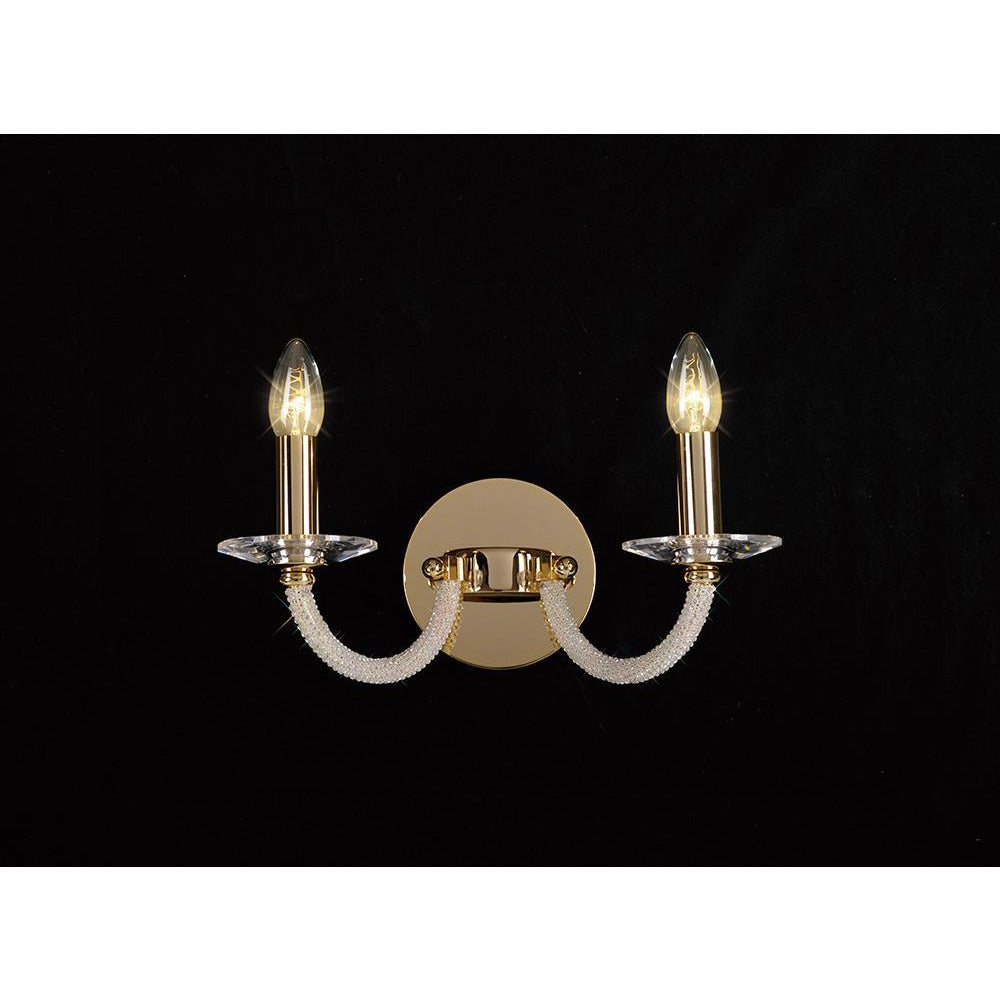 Rosy Brown Diyas IL30372 Elena Wall Lamp Switched 2 Light Gold/Crystal diyas-il30372-elena-wall-lamp-switched-2-light-gold-crystal Elena