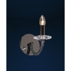 Black Diyas IL30471 Elena Wall Lamp Switched 1 Light Black Chrome/Crystal