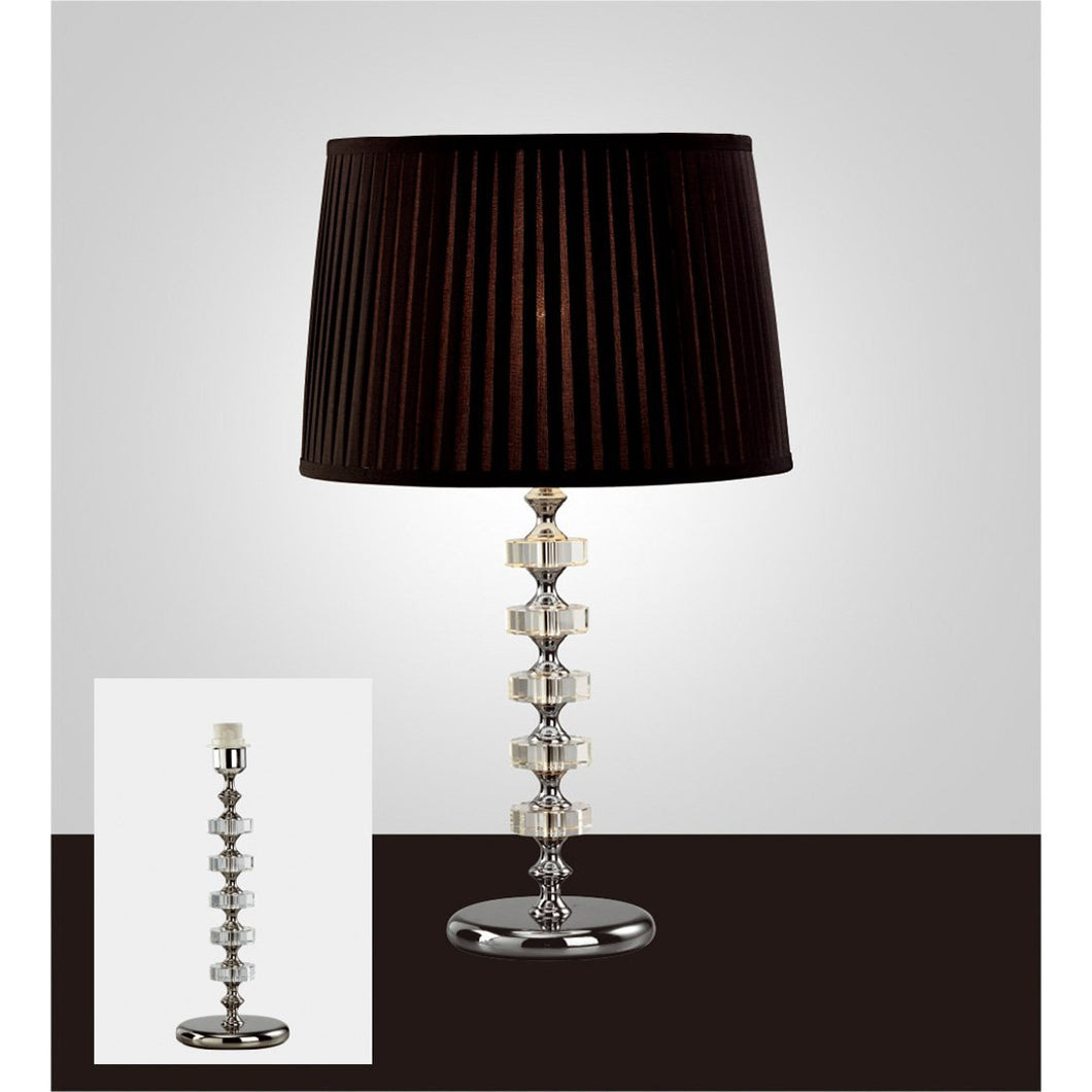 Black Diyas IL11023 Elenor Crystal Table Lamp Without Shade 1 Light Silver Finish