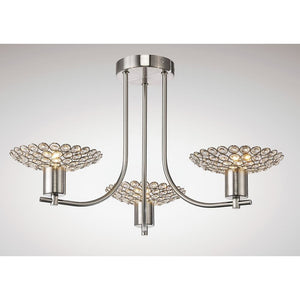 Beige Diyas IL20606 Ellen Semi Ceiling 3 Light Satin Nickel/Crystal