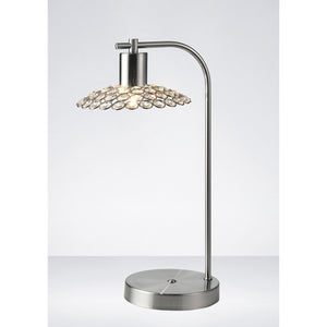 Lavender Diyas IL20608 Ellen 1 Light Table Lamp Satin Nickel/Crystal