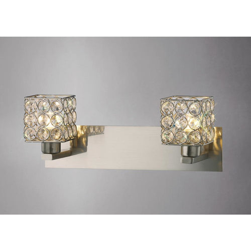 Gray Diyas IL20640 Elsa Wall Lamp 2 Light Satin Nickel/Crystal
