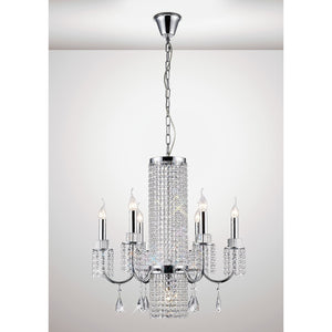 White Smoke Diyas IL31543 Emily Pendant 6 Light Polished Chrome/Crystal diyas-il31543-emily-pendant-6-light-polished-chrome-crystal Emily