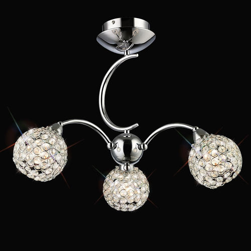 Gray Diyas IL70053  Escado Semi Ceiling 3 Light Polished Chrome/Crystal