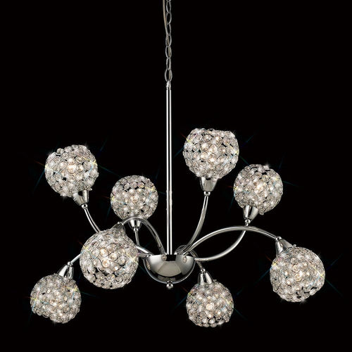 Dark Gray Diyas IL70055  Escado Pendant 8 Light Polished Chrome/Crystal