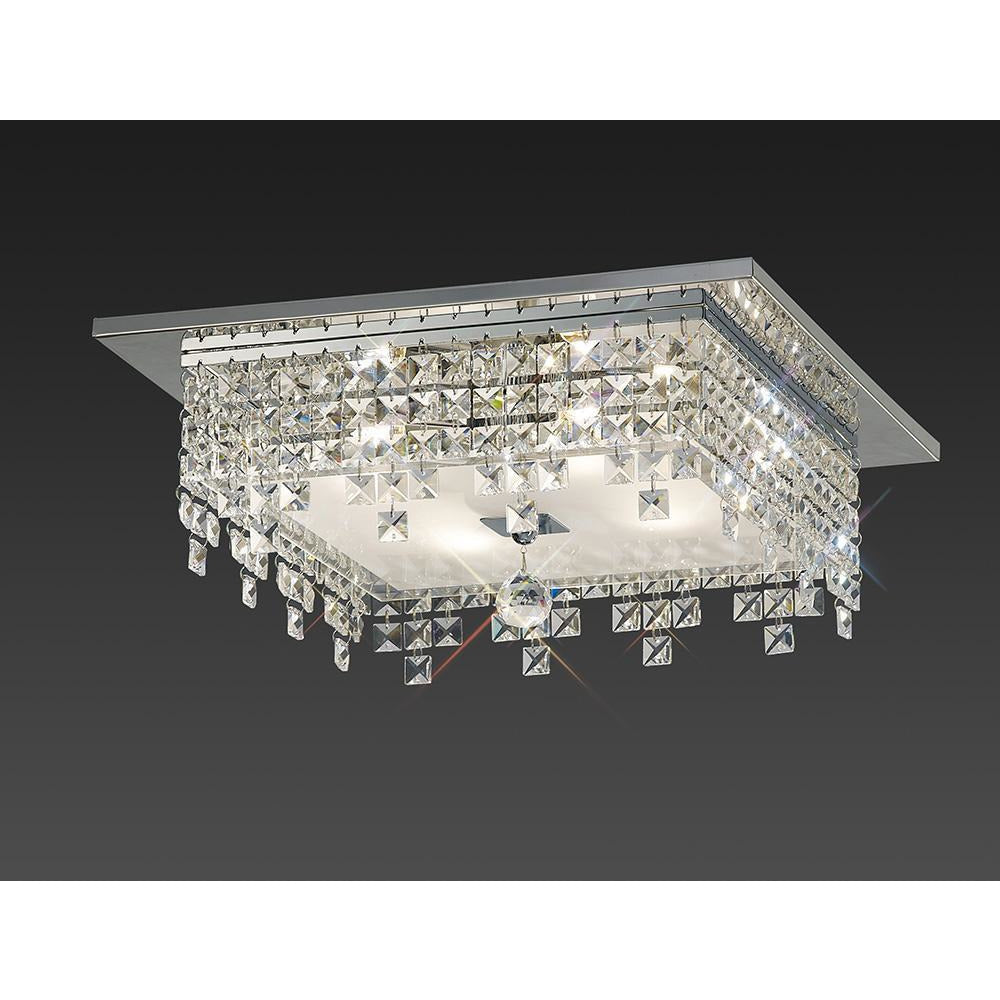 Gray Diyas IL30262 Esta Ceiling Square 4 Light Polished Chrome/Glass/Crystal