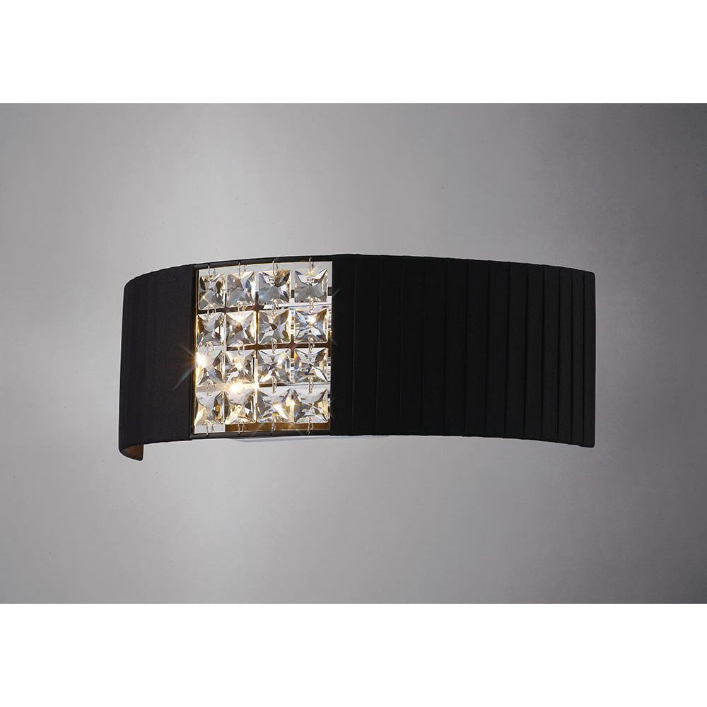 Black Diyas IL31171/BL Evelyn Wall Lamp With Black Shade 2 Light Polished Chrome/Crystal