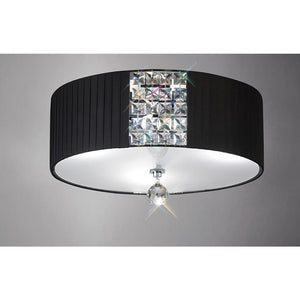 Gray Diyas IL31172/BL Evelyn Ceiling Round With Black Shade 3 Light Polished Chrome/Crystal diyas-il31172-bl-evelyn-ceiling-round-with-black-shade-3-light-polished-chrome-crystal Evelyn
