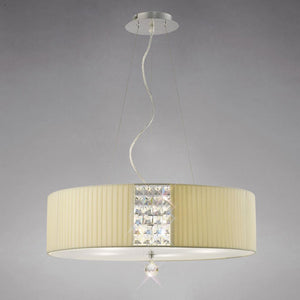 Tan Diyas IL31173/CR Evelyn Pendant Oval With Cream Shade 4 Light Polished Chrome/Crystal
