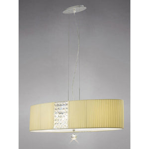 Tan Diyas IL31174/CR Evelyn Pendant Round With Cream Shade 5 Light Polished Chrome/Crystal