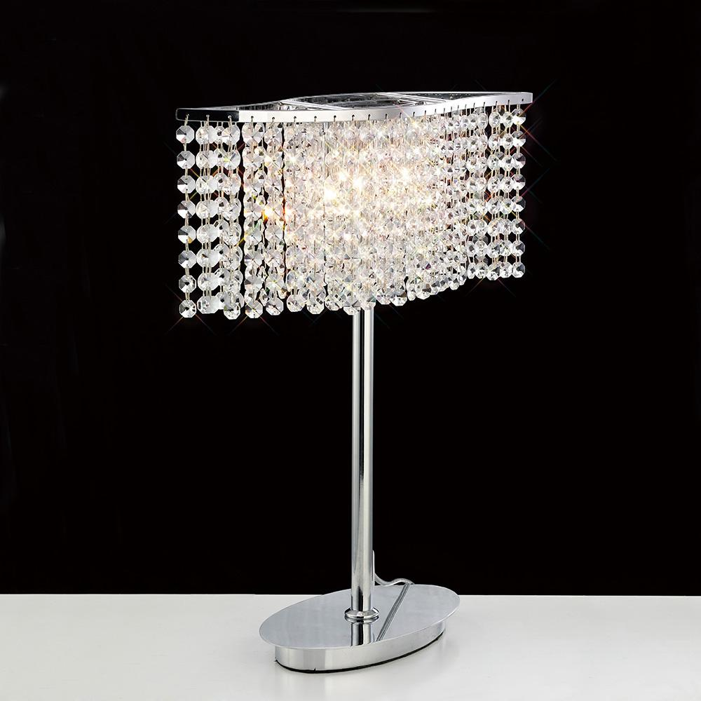 Gray Diyas IL30575 Fabio Table Lamp 2 Light Polished Chrome/Crystal