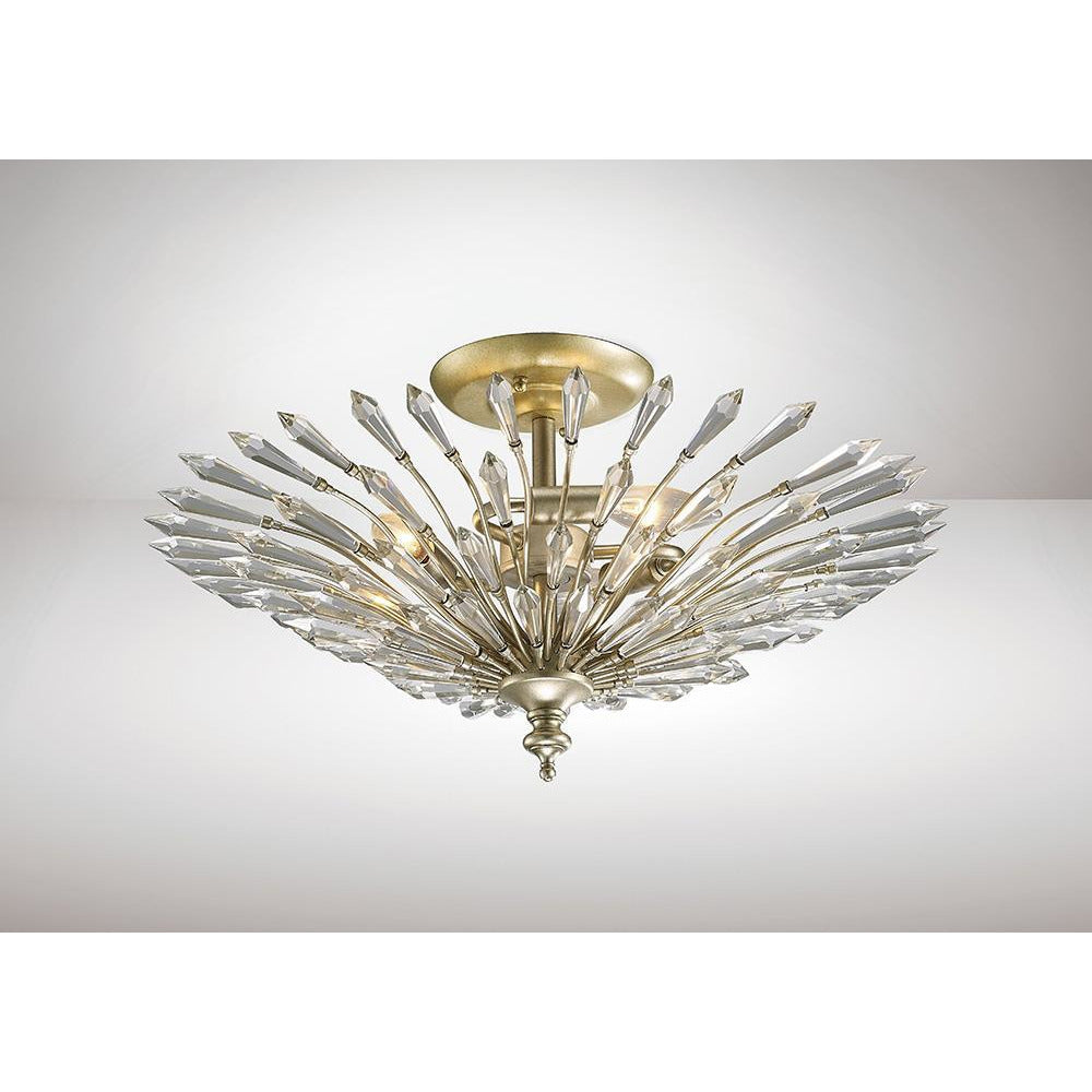 Rosy Brown Diyas IL31671 Fay Semi Ceiling 3 Light E14 Aged Gold/Silver/Crystal diyas-il31671-fay-semi-ceiling-3-light-e14-aged-gold-silver-crystal Fay