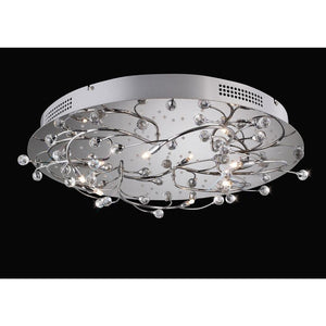Gray Diyas IL30637  Fia Ceiling Round 6 Light With White LEDs Polished Chrome/Crystal
