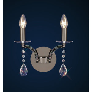 Midnight Blue Diyas IL30362 Fiore Wall Lamp Switched 2 Light Black Chrome/Crystal