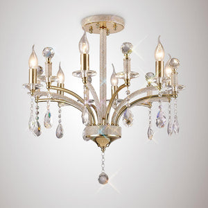 Rosy Brown Diyas IL32366 Fiore Pendant 6 Light French Gold/Crystal