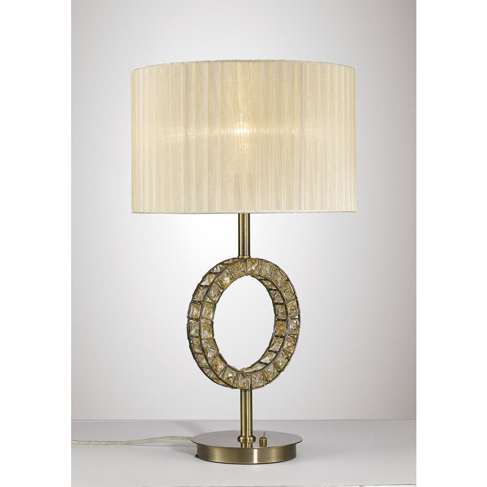 Wheat Diyas IL31530 Florence Round Table Lamp With Cream Shade 1 Light Antique Brass/Crystal