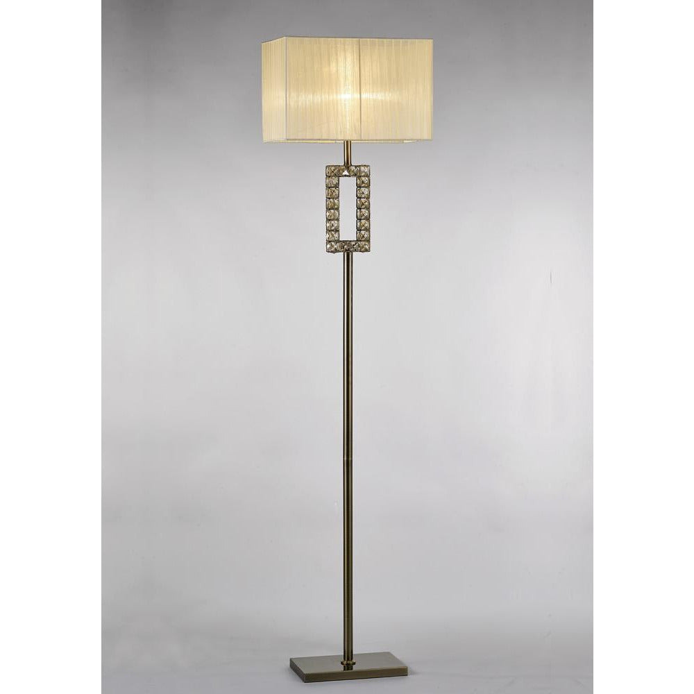 Light Gray Diyas IL31533 Florence Rectangle Floor Lamp With Cream Shade 1 Light Antique Brass/Crystal diyas-il31533-florence-rectangle-floor-lamp-with-cream-shade-1-light-antique-brass-crystal Florence