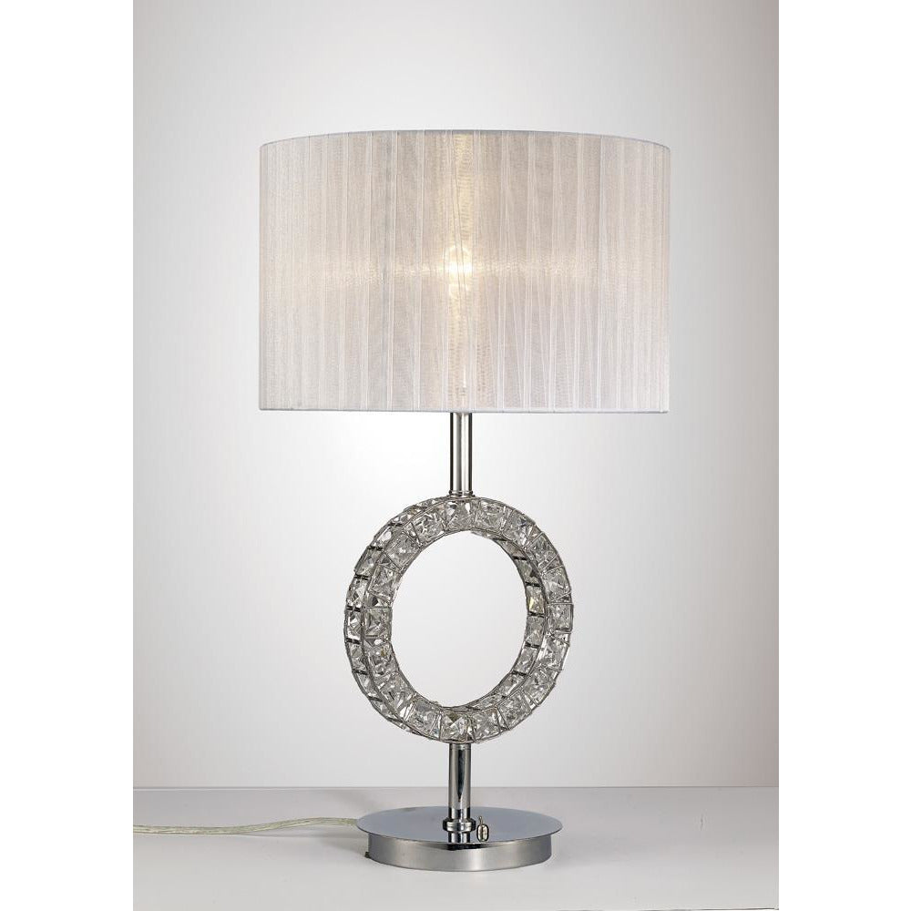 Light Gray Diyas IL31534 Florence Round Table Lamp With White Shade 1 Light Polished Chrome/Crystal