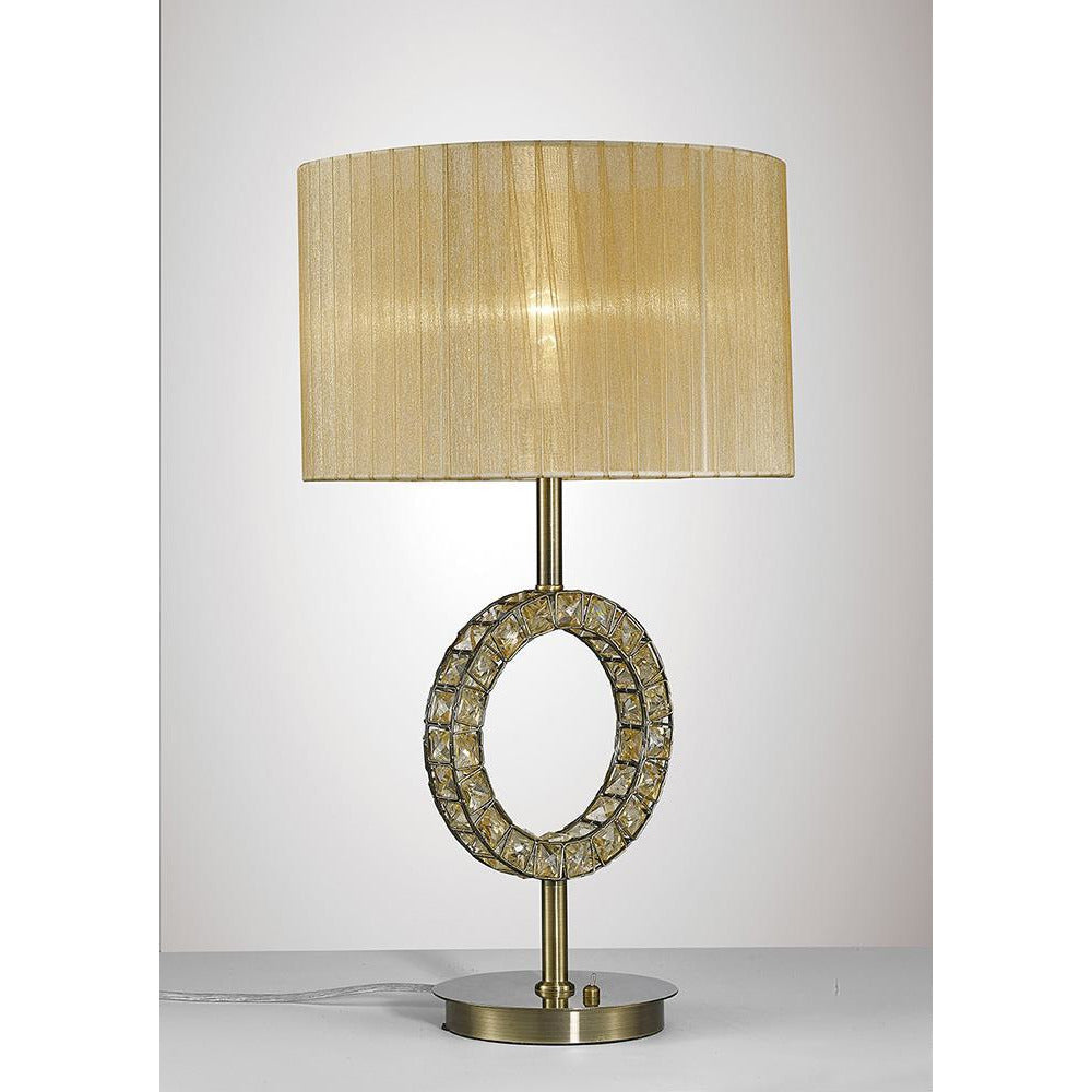 Dark Khaki Diyas IL31720 Florence Round Table Lamp With Soft Bronze Shade 1 Light Antique Brass/Crystal