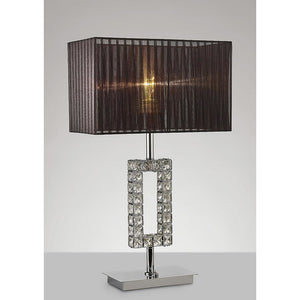 Dark Slate Gray Diyas IL31726 Florence Rectangle Table Lamp With Black Shade 1 Light Polished Chrome/Crystal