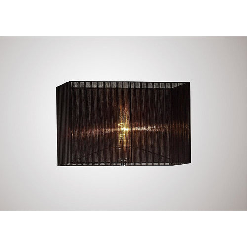 Black Diyas ILS31727 Florence Rectangle Organza Shade,  400x210x260mm, Black, For Floor Lamp