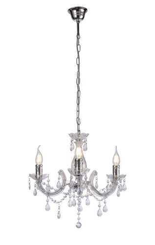 Gray Deco D0416 Floria Chandelier With Acrylic Sconce & Acrylic Crystal Droplets 3 Light E14 Polished Chrome Finish deco-d0416-floria-chandelier-with-acrylic-sconce-acrylic-crystal-droplets-3-light-e14-polished-chrome-finish