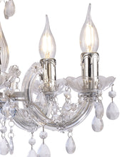 Load image into Gallery viewer, Gray Deco D0417 Floria Chandelier With Acrylic Sconce & Acrylic Droplets 5 Light E14 Polished Chrome Finish deco-d0417-floria-chandelier-with-acrylic-sconce-acrylic-droplets-5-light-e14-polished-chrome-finish