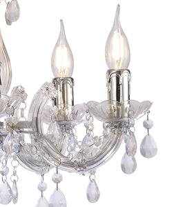 Gray Deco D0417 Floria Chandelier With Acrylic Sconce & Acrylic Droplets 5 Light E14 Polished Chrome Finish deco-d0417-floria-chandelier-with-acrylic-sconce-acrylic-droplets-5-light-e14-polished-chrome-finish