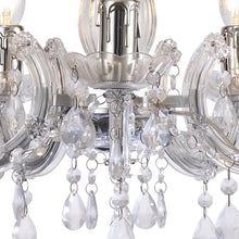 Load image into Gallery viewer, Dark Gray Deco D0417 Floria Chandelier With Acrylic Sconce & Acrylic Droplets 5 Light E14 Polished Chrome Finish deco-d0417-floria-chandelier-with-acrylic-sconce-acrylic-droplets-5-light-e14-polished-chrome-finish