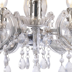 Dark Gray Deco D0417 Floria Chandelier With Acrylic Sconce & Acrylic Droplets 5 Light E14 Polished Chrome Finish deco-d0417-floria-chandelier-with-acrylic-sconce-acrylic-droplets-5-light-e14-polished-chrome-finish