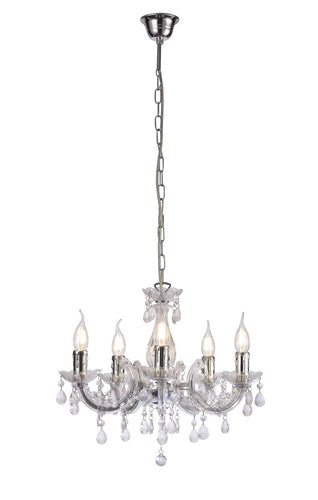 Snow Deco D0417 Floria Chandelier With Acrylic Sconce & Acrylic Droplets 5 Light E14 Polished Chrome Finish deco-d0417-floria-chandelier-with-acrylic-sconce-acrylic-droplets-5-light-e14-polished-chrome-finish