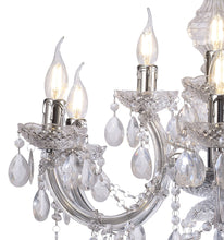 Load image into Gallery viewer, Gray Deco D0418 Floria Chandelier With Acrylic Sconce & Acrylic Droplets 6+3 Light E14 Polished Chrome Finish deco-d0418-floria-chandelier-with-acrylic-sconce-acrylic-droplets-6-3-light-e14-polished-chrome-finish