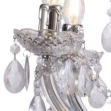 Load image into Gallery viewer, Dark Gray Deco D0418 Floria Chandelier With Acrylic Sconce & Acrylic Droplets 6+3 Light E14 Polished Chrome Finish deco-d0418-floria-chandelier-with-acrylic-sconce-acrylic-droplets-6-3-light-e14-polished-chrome-finish